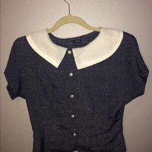 Polka Dot blouse w Peter Pan collar blue & white